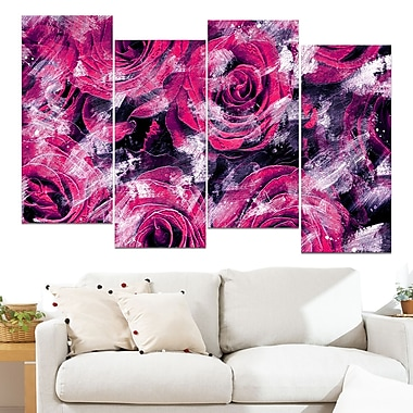 Pink Rose Garden Floral Metal Wall Art, 48x28, 4 Panels, (MT3430-2-271)