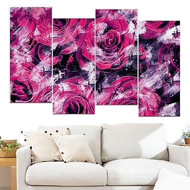 Art mural floral en métal, jardin de roses roses, 48 x 28 po, 4 panneaux, (MT3430-2-271)