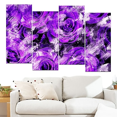 Purple Rose Garden Floral Metal Wall Art, 48x28, 4 Panels, (MT3430-3-271)