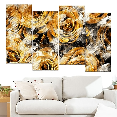Yellow Rose Garden Floral Metal Wall Art, 48x28, 4 Panels, (MT3430-4-271)