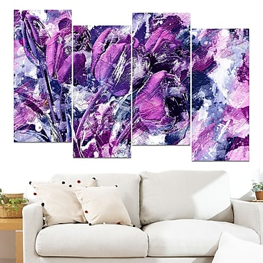 Shades of Purple Flowers Floral Metal Wall Art, 48x28, 4 Panels, (MT3431-271)