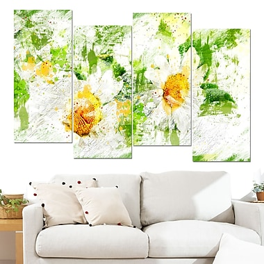 Pair of White Flowers Floral Metal Wall Art, 48x28, 4 Panels, (MT3433-271)