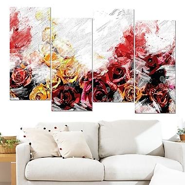 Art mural floral en métal, roses variées, 48 x 28 po, 4 panneaux, (MT3434-271)