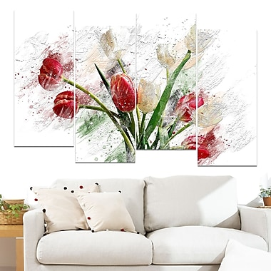 Red and White Roses Floral Metal Wall Art, 48x28, 4 Panels, (MT3435-271)