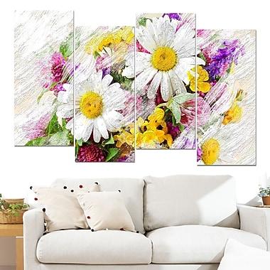 Art mural floral en métal, bouquet de fleurs sauvages, 48 x 28 po, 4 panneaux, (MT3436-271)