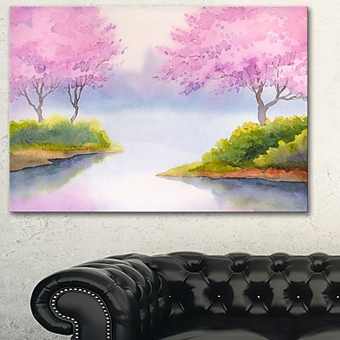Flowering Trees Over River Landscape Metal Wall Art, 28x12, (MT6006-28-12)