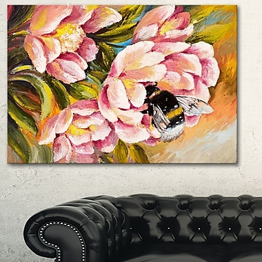 Bee Sitting on Flower Floral Metal Wall Art, 28x12, (MT6020-28-12)