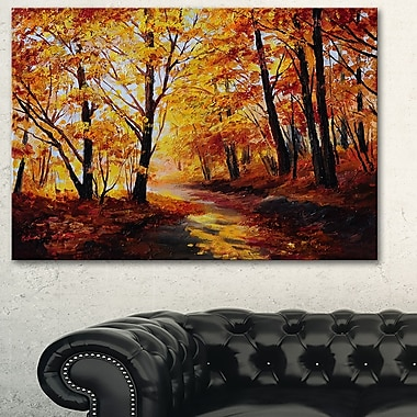Art mural en métal, paysage, forêt d'automne, 28 x 12 po (MT6022-28-12)