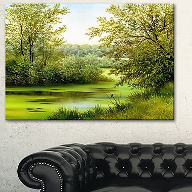 Green Summer Landscape Metal Wall Art, 28x12, (MT6025-28-12)