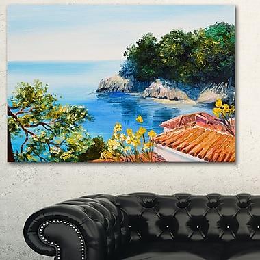 Art mural en métal, paysage, maison près de la mer, 28 x 12 po (MT6026-28-12)
