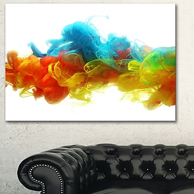 Colourful Ink in Water Abstract Metal Wall Art, 28x12, (MT6027-28-12)