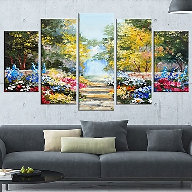 Summer Forest with Flowers Landscape Metal Wall Art, 60x32, 5 Panels, (MT6028-373)