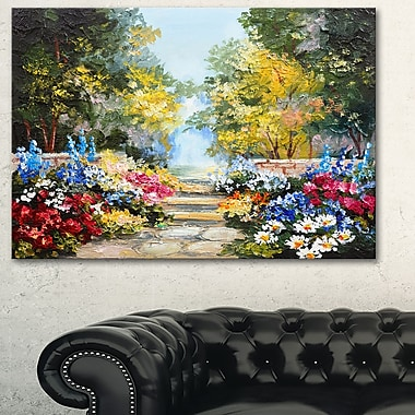 Summer Forest with Flowers Landscape Metal Wall Art, 28x12, (MT6028-28-12)
