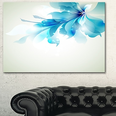 Tender Blue Abstract Flowers Floral Metal Wall Art, 28x12, (MT6029-28-12)
