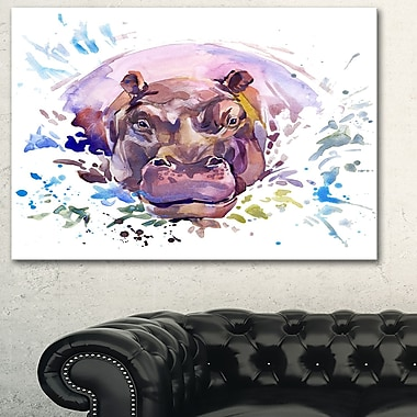 Hippopotamus WaterColour Animal Metal Wall Art, 28x12, (MT6032-28-12)