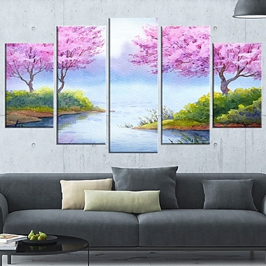 Flowering Trees Over Lake Landscape Metal Wall Art