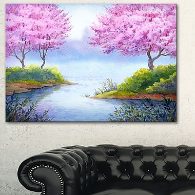 Flowering Trees Over Lake Landscape Metal Wall Art, 28x12, (MT6034-28-12)