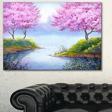 Art mural en métal, paysage, arbres à fleurs surplombant le lac, 28 x 12 po (MT6034-28-12)