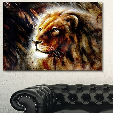 Majestically Peaceful Lion Animal Metal Wall Art, 28x12, (MT6039-28-12)