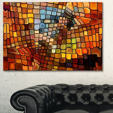 Art mural abstrait en métal, rêve de vitrail, 28 x 12 po, (MT6043-28-12)