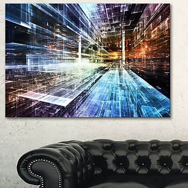 Art mural abstrait en métal, industrie future, 28 x 12 po, (MT6050-28-12)