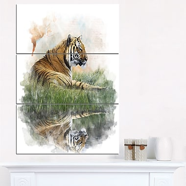 Relaxing Tiger Animal Metal Wall Art, 28x36, 3 Panels, (MT6052-28-36)