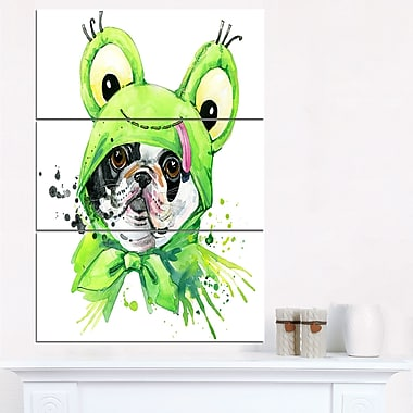 French Bulldog Illustration Animal Metal Wall Art, 28x36, 3 Panels, (MT6054-28-36)