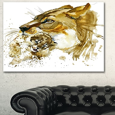 Lioness and Cub Illustration Animal Metal Wall Art, 28x12, (MT6056-28-12)
