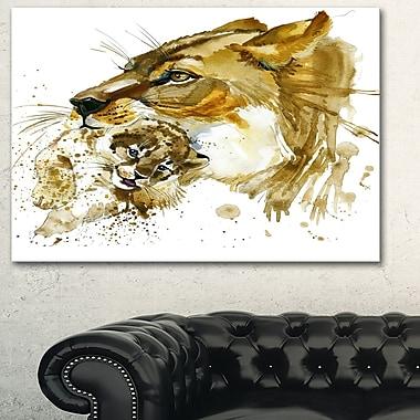 Art mural en métal d'animal, illustration, lionne et lionceau, 28 x 12 po (MT6056-28-12)
