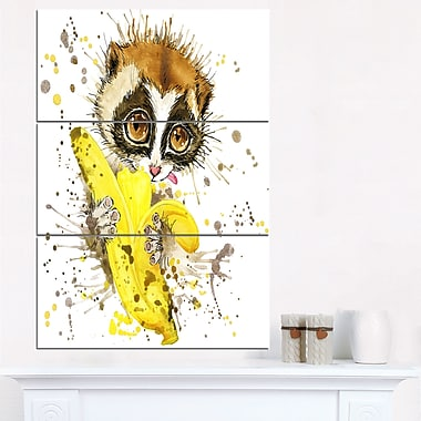 Lemur Eating Banana Graphics Art