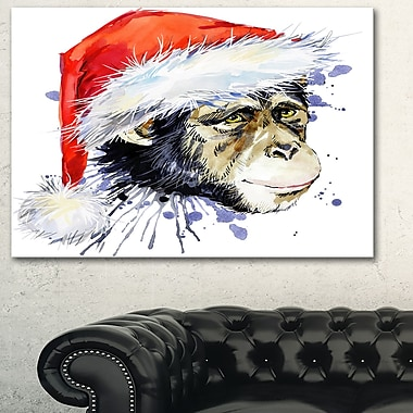 Monkey Santa Clause Animal Metal Wall Art, 28x12, (MT6065-28-12)