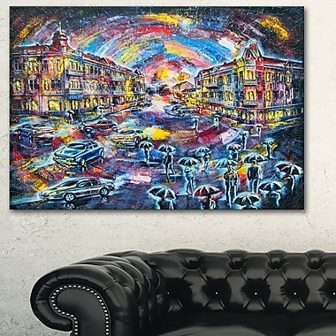 Surreal City at Night Cityscape Large Metal Wall Art, 28x12, (MT6069-28-12)