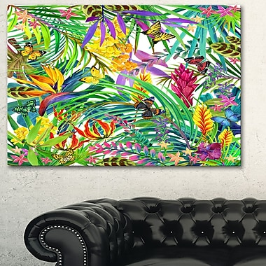 Tropical Leaves and Flowers Floral Metal Wall Art, 28x12, (MT6075-28-12)