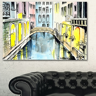 Canal in Venice Cityscape Metal Wall Art, 28x12, (MT6077-28-12)