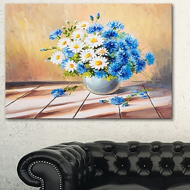 Bouquet on Wooden Table Floral Metal Wall Art, 28x12, (MT6078-28-12)