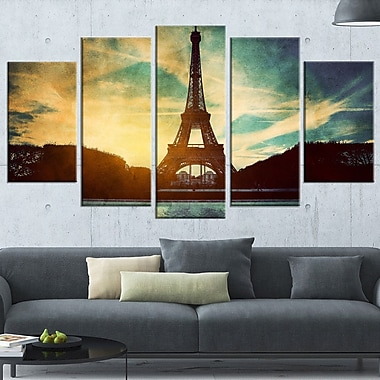 Eiffel Tower Retro Style Cityscape Metal Wall Art