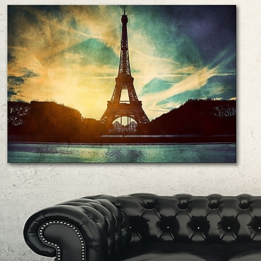 Eiffel Tower Retro Style Cityscape Metal Wall Art, 28x12, (MT6079-28-12)