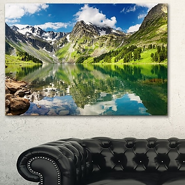 Reflecting Mountain Lake Landscape Metal Wall Art, 28x12, (MT6083-28-12)