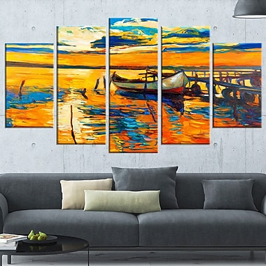 Boat and Jetty at Sunset Landscape Metal Wall Art