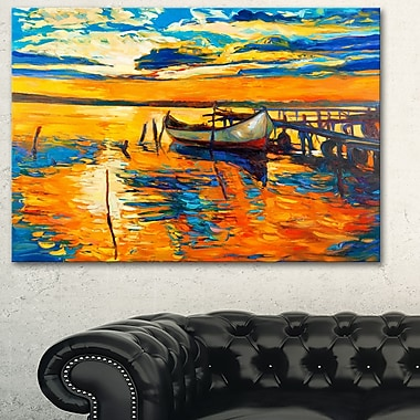 Boat and Jetty at Sunset Landscape Metal Wall Art, 28x12, (MT6084-28-12)