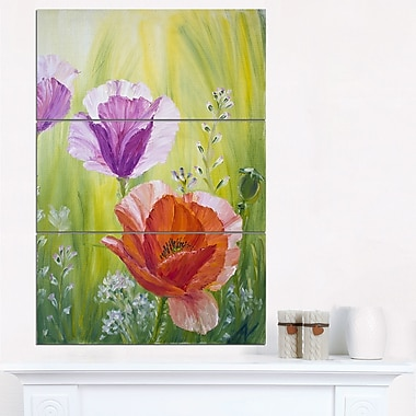 Poppies in the Morning Floral Metal Wall Art, 28x36, 3 Panels, (MT6085-28-36)