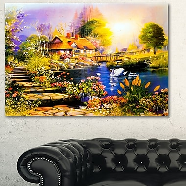 House near the Lake Swans Landscape Metal Wall Art, 28x12, (MT6086-28-12)