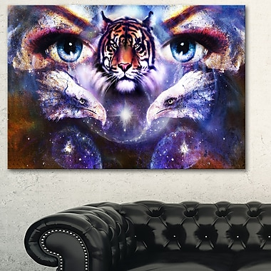 Tiger, Eagles and Woman Eyes Collage Metal Wall Art, 28x12, (MT6087-28-12)
