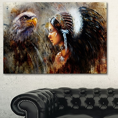 Indian Woman with Feather Headdress Metal Wall Art, 28x12, (MT6088-28-12)