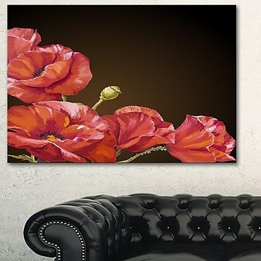 Poppy Flowers Vector Art, Floral Metal Wall Art, 28x12, (MT6091-28-12)