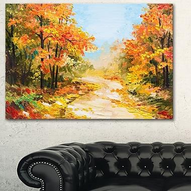 Art mural en métal, paysage d'automne, sentier en forêt, 28 x 12 po, (MT6092-28-12)