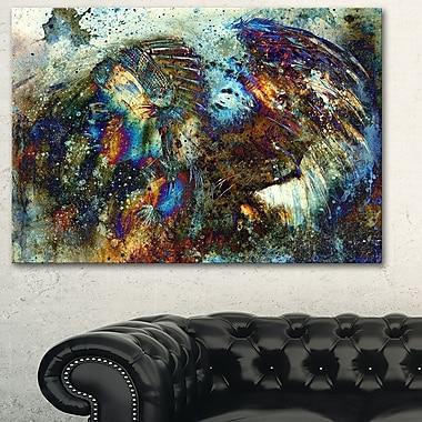 Art mural en métal, collage, femme indienne avec lionne, 28 x 12 po, (MT6095-28-12)