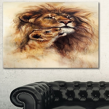 Art mural en métal d'animal, lionne affectueuse, 28 x 12 po, (MT6096-28-12)