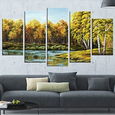 Green Autumn Lake Landscape Metal Wall Art, 60x32, 5 Panels, (MT6097-373)