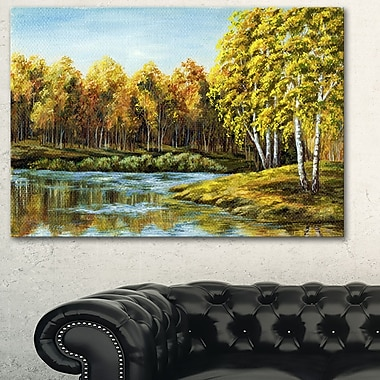Green Autumn Lake Landscape Metal Wall Art, 28x12, (MT6097-28-12)